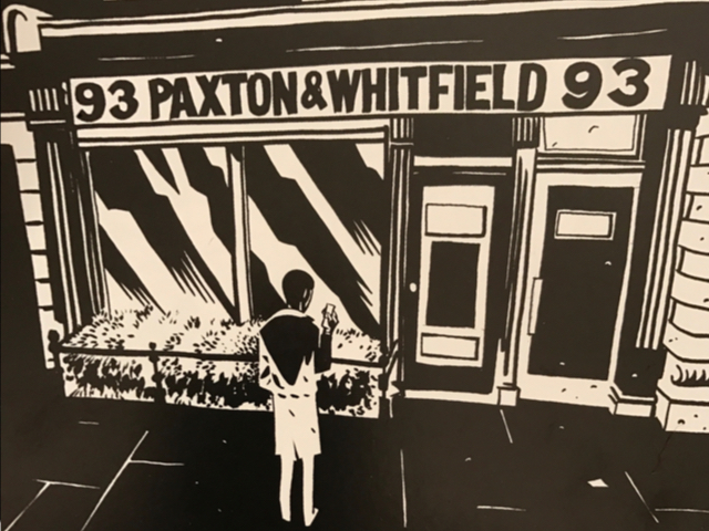 The Paxton and Whitfield shopfront in wartime London