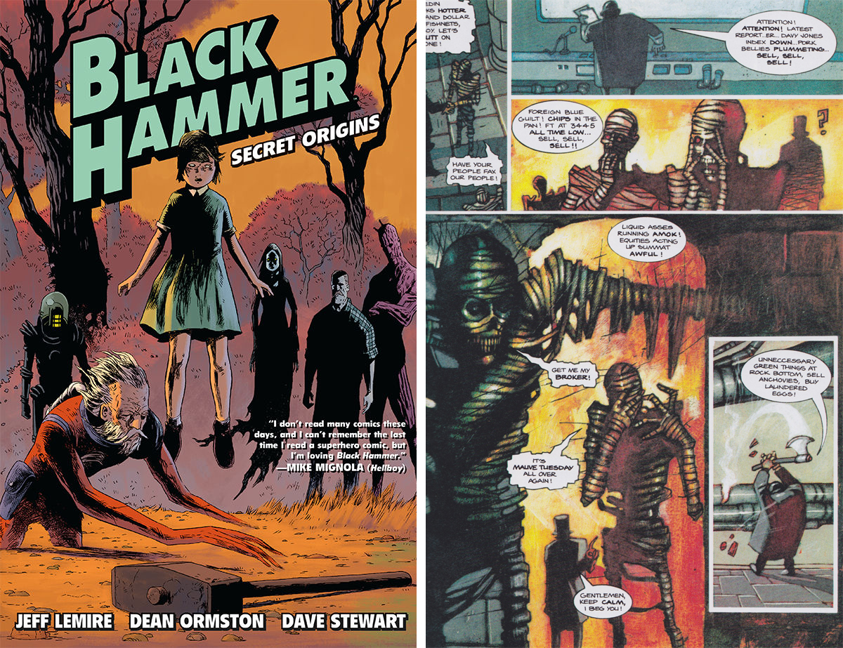 Black Hammer TPB cover: A page from Harke & Burr