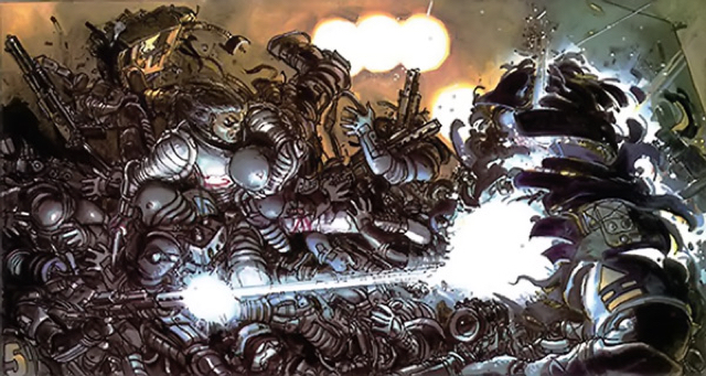Othon, the first Metabaron, fights off space pirates